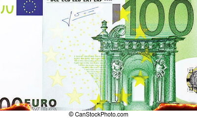Burning 100 Euro Note - combustion of a 100 Euro note,...