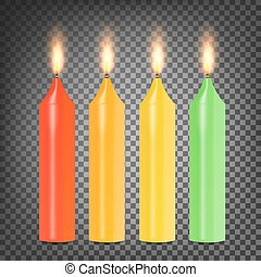 Burning 3D Realistic Dinner Candles Vector. Set Colorful On Dark Transparent Background Illustration