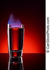 Burning alcohol shot