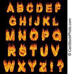 Burning alphabet letters illustration isolated on black background