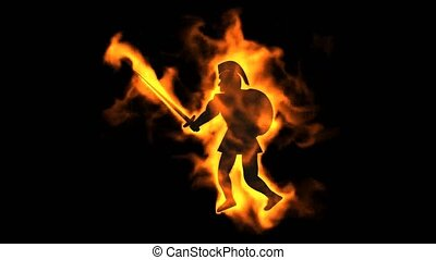 burning ancient soldier brandishing fire spear.