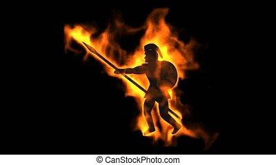 burning ancient soldier brandishing spear.