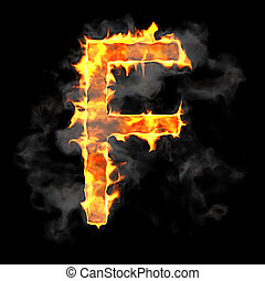 Burning and flame font F letter