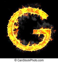 Burning and flame font G letter over black background