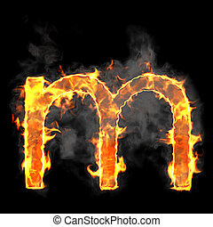 Burning and flame font M letter