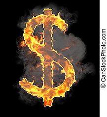 Burning and flame font US dollar symbol