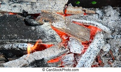 Burning and smoldering firewood is large