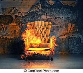 burning armchair in the grunge interior. 3D illustration...