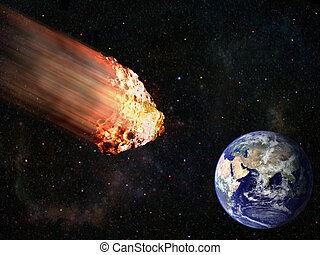 Burning asteroid hitting earth