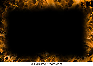 Campfire flames bright firey orange and yellow background center is knocked out nice border