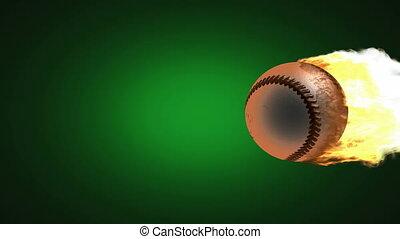 burning baseball ball. Alpha matted