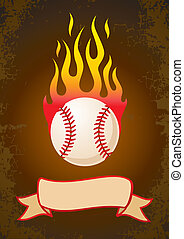 Burning baseball - Burning a baseball with a ribbon