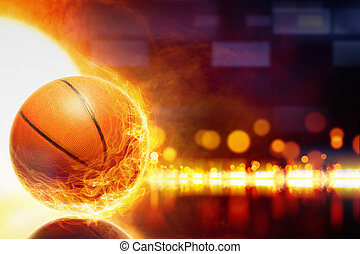 Burning basketball - Abstract sports background - burning...