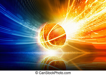 Burning basketball - Abstract sports background - burning...