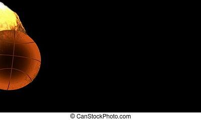 burning basketball ball. Alpha matt