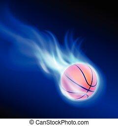 Burning basketball on blue fire. EPS10 vector.