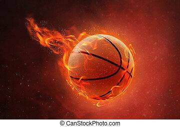 Burning basketball on fire background