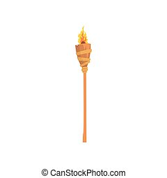Burning beach bamboo torch cartoon vector illustration