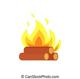 Burning Billets Isolated Vector Icon. Flame Logs