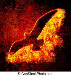 Burning Bird - Burning bird silhouette on grunge background