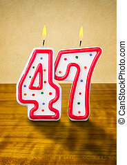 Burning birthday candles number 47