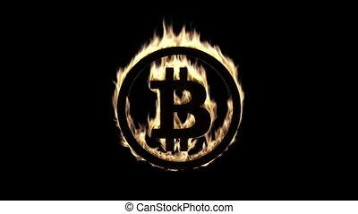 Burning Bitcoin Symbol - Burning Bitcoin symbol - computer...