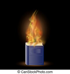 Burning Blue Book with Fire Flame