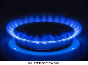 Burning blue gas