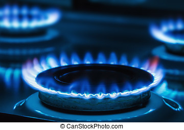 Burning blue gas on the stove