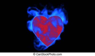 burning blue heart, valentine's day energy heart.