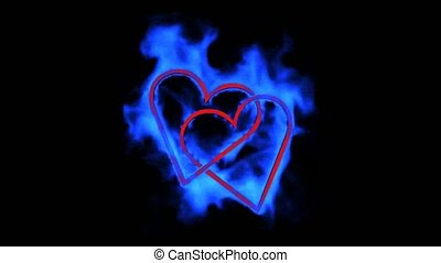 burning blue heart,valentine's day