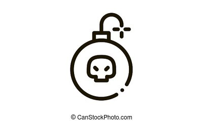 Burning Bomb Icon Animation. black Burning Bomb animated icon on white background