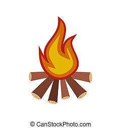 Burning bonfire flat icon isolated on white background