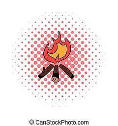 Burning bonfire icon, comics style