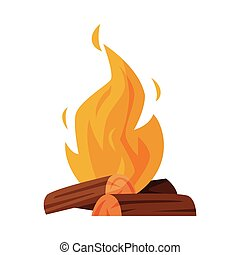 Burning Bonfire with Wood, Campfire, Outdoor Nature Picnic Cartoon Vector Illustration Isolated on White Background.
