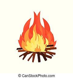 Burning bonifire, element of Stone Age vector Illustration on a white background