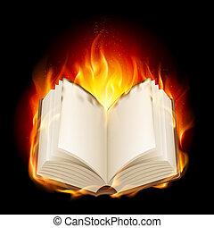 Burning book. Illustratin on black background for design