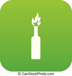 Burning bottle icon digital green