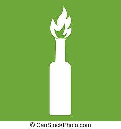Burning bottle icon green