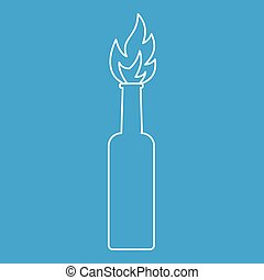 Burning bottle icon, outline style