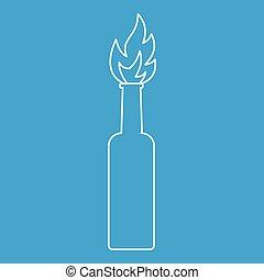 Burning bottle icon, outline style