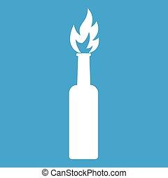 Burning bottle icon white