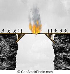 Burning Bridges Concept - Burning bridge concept as groups...