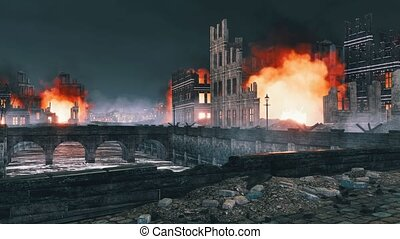 Burning building ruins in destroyed after WW2 city - Burning...