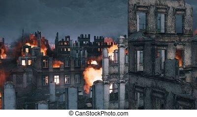 Burning building ruins of destroyed after war city - Burning...