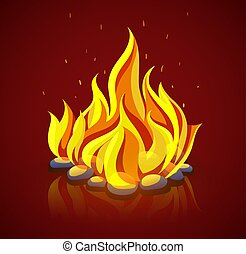Burning campfire with fire on coal stones. Vector...
