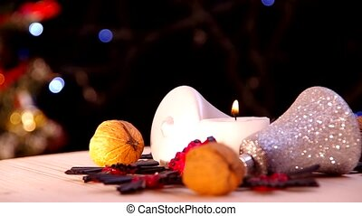Burning candle and bokeh
