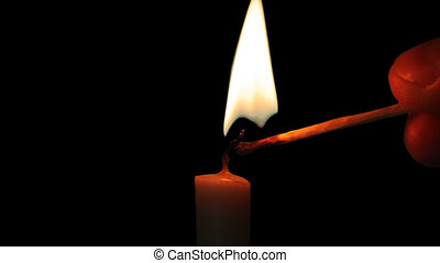 Burning Candle and Flame with Alpha Channel - Candle...