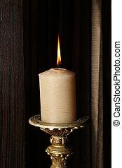 Burning candle. Close up