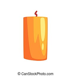 Burning candle, festive decoration element vector Illustration on a white background